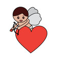 love cupid heart shooting arrow with bow vector image vector image