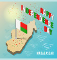madagascar map with flag in isometric style vector image vector image