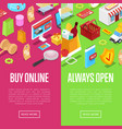 online shopping isometric 3d posters vector image vector image