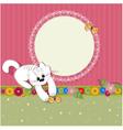 ornament retro kitten vector image vector image