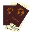 passports with plane tickets vector image vector image