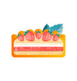 piece of layered delicious cake with strawberrie vector image vector image