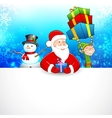 Santa Claus and Snowman wishing Merry Christmas vector image