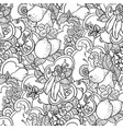 seamless pattern with fruit ornament in coloring vector image