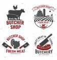 set butcher shop badge or label with cow beef vector image vector image