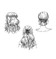 set hand drawn hairstyles sketch fashion vector image