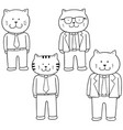 set of cat wearing clothes vector image vector image