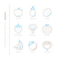 set of food icons and concepts in mono thin line vector image vector image