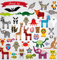 Set of funny cartoon animals character on a white vector image