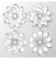 set paper flowers vector image vector image