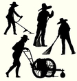 Silhouette of people gardening vector image vector image