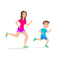 sport running or jogging mom and son isolated vector image