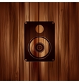 Subwoofer web icon Wooden background vector image