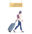 traveling woman walking with cap and backpack vector image vector image