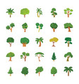 trees flat icons set vector image