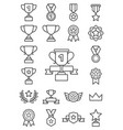 trophy line icons vector image