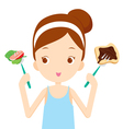 Useful and useless food choices for girl choosing vector image vector image