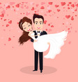 valentine card groom and bride wedding vector image vector image