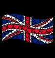 waving british flag pattern of valentine heart vector image