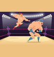 wrestler fighters cartoon cartoon martial vector image