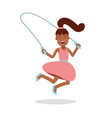 happy little girl in a pink dress jumping with vector image