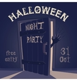 Open door on halloween night party vector image
