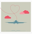 Silhouette of a plane with heart vector image