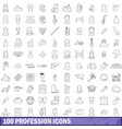100 profession icons set outline style vector image vector image