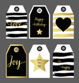 a set 6 design gift tag fashion design black and vector image vector image