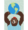 bear is holding the planet vector image vector image