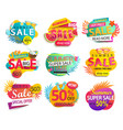 big set summer sale and discounts stickers vector image vector image