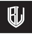 bl logo monogram with emblem shield design vector image vector image