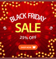 black friday sale up to 25 off square red vector image