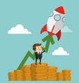 businessman with start up making money cartoon vector image vector image