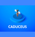 caduceus isometric icon isolated on color vector image vector image