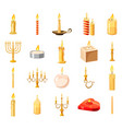 candle icon set cartoon style vector image
