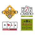 casino club isolated icons gambling and poker vector image vector image