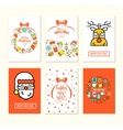 Christmas background set with flat icons vector image