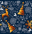 christmas gold low poly ornament seamless pattern vector image vector image