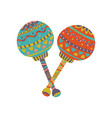 colorful maracas with mexican ornament cartoon vector image vector image