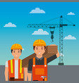 construction workers holding wooden crane on sky vector image