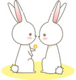 couple white rabbits give a yellow flower cartoon vector image