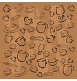 cup saucer plate of coffee beans vector image vector image