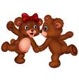 Cute bear couple dancing vector image vector image