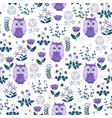 cute colorful floral seamless pattern with owls vector image vector image
