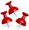 detailed 3d push pins thumbtacks in red vector image