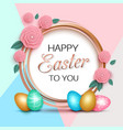 easter greeting card with colorful eggs paper rose vector image vector image