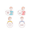 efficacy service and international globe icons vector image vector image
