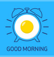 fried egg and alarm clock vector image vector image