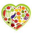 Fruit and vegetables heart shape vector | Price: 1 Credit (USD $1)